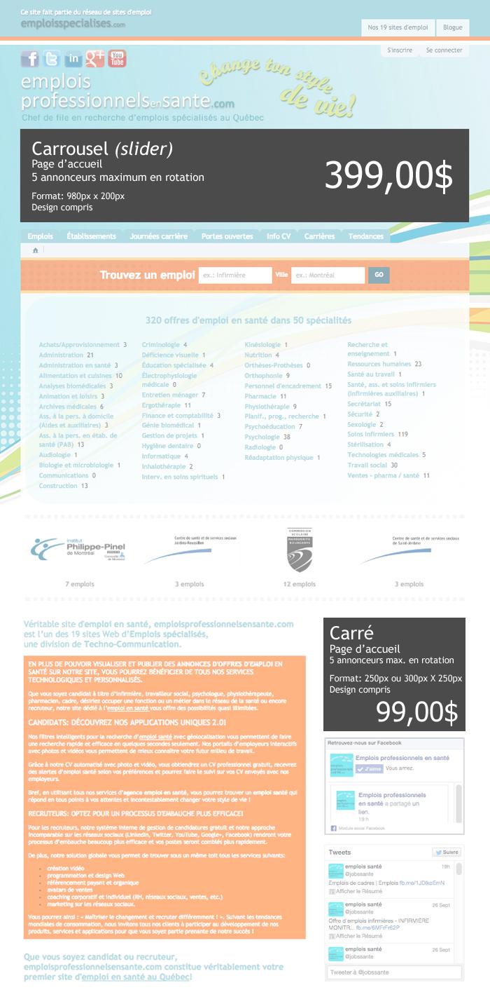 1er site en emploi en sant u00e9  tarifs publicitaires de tous