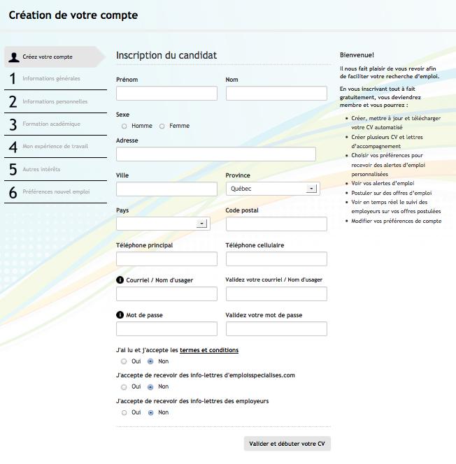 resume format  formulaire de cv  u00e0 remplir