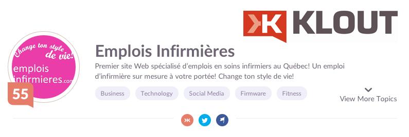 Score Klout - emploisinfirmieres.com